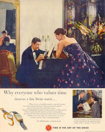 Swiss Fed Of Watch Manufacturers 1953 Pianist | Sex Appeal Vintage Ads and Covers 1891-1970