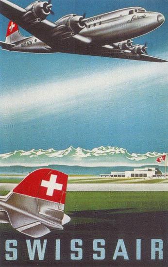 Swissair 1950s Swiss Alps | Vintage Travel Posters 1891-1970