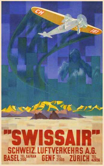 Swissair Basel Genf Zuerich Switzerland 1935 | Vintage Travel Posters 1891-1970
