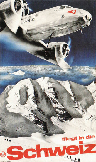 Swissair Fliegt In Die Schweiz 1935 Switzerland | Vintage Travel Posters 1891-1970