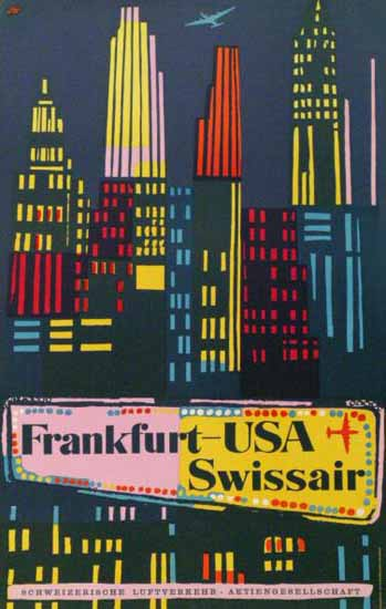 Swissair Frankfurt USA New York Switzerland 1951 | Vintage Travel Posters 1891-1970