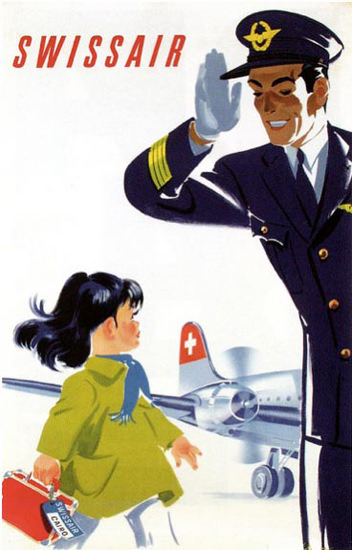 Swissair Girl And Captain 1950 | Vintage Travel Posters 1891-1970