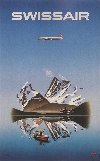 Swissair Mountains Lake Switzerland Schweiz | Vintage Travel Posters 1891-1970