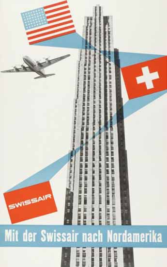 Swissair Nach Nordamerika USA Switzerland 1949 | Vintage Travel Posters 1891-1970