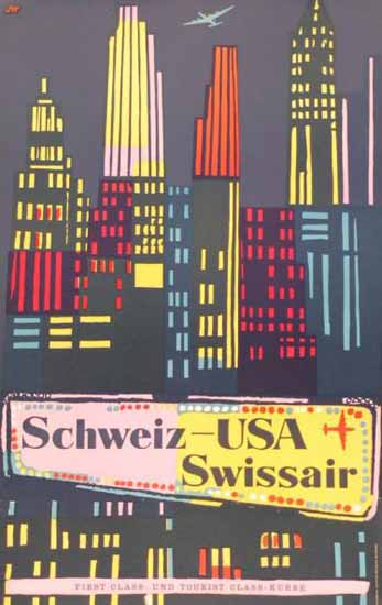 Swissair Schweiz USA FirstClass New York Switzerland 1951 | Vintage Travel Posters 1891-1970