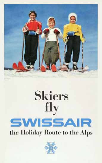 Swissair Skiers Fly Holiday Route Alps Switzerland 1954 | Vintage Travel Posters 1891-1970