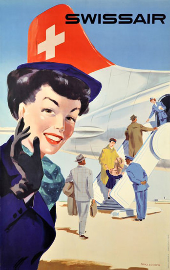 Swissair Stewardess Switzerland 1953 | Sex Appeal Vintage Ads and Covers 1891-1970