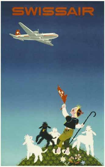Swissair Swiss Air Lines Shepherd Switzerland 1954 | Vintage Travel Posters 1891-1970