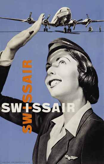 Swissair Swiss Air Lines Stewardess Switzerland 1952 | Vintage Travel Posters 1891-1970