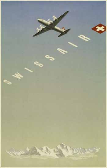 Swissair Swiss Air Lines Switzerland Swiss Alps 1948 | Vintage Travel Posters 1891-1970