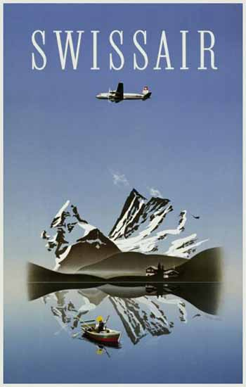 Swissair Swiss Air Lines Switzerland Swiss Alps 1949 | Vintage Travel Posters 1891-1970