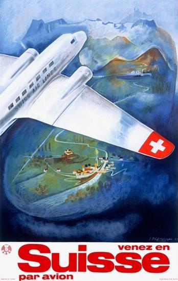 Swissair Venez En Suisse Par Avion | Vintage Travel Posters 1891-1970