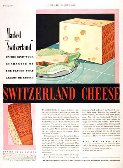 Switzerland Cheese Cannot Be Copied 1931 | Vintage Ad and Cover Art 1891-1970