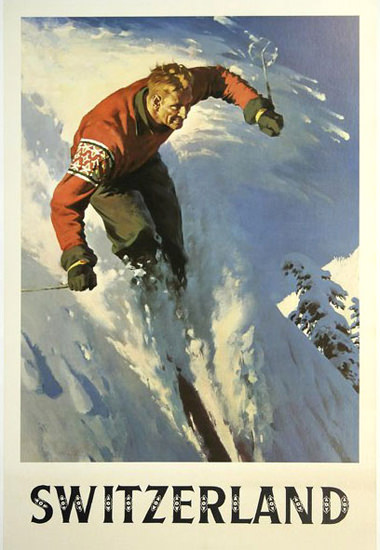 Switzerland Skiing In The Swiss Alps | Vintage Travel Posters 1891-1970