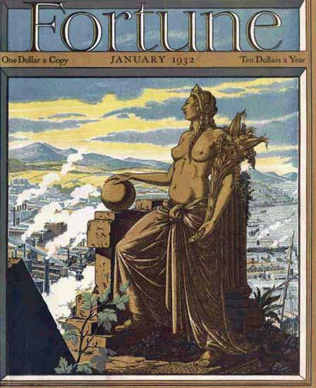 TM Cleland Fortune Magazine January 1932 Copyright   Fortune Magazine Graphic Art Covers 1930-1959
