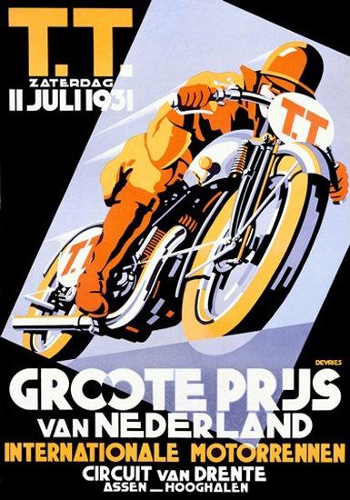 TT Int Motorcycle Race Circuit Van Drente 1931 | Vintage Travel Posters 1891-1970