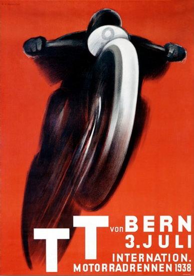 TT Int Motorradrennen Bern Schweiz 1938 | Vintage Travel Posters 1891-1970