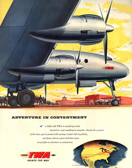 TWA Airline Adventure In Contentment 1945 | Vintage Travel Posters 1891-1970