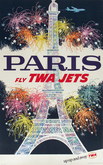 TWA Airline Paris Fly TWA Jets 1950 Eiffel Tower | Vintage Travel Posters 1891-1970