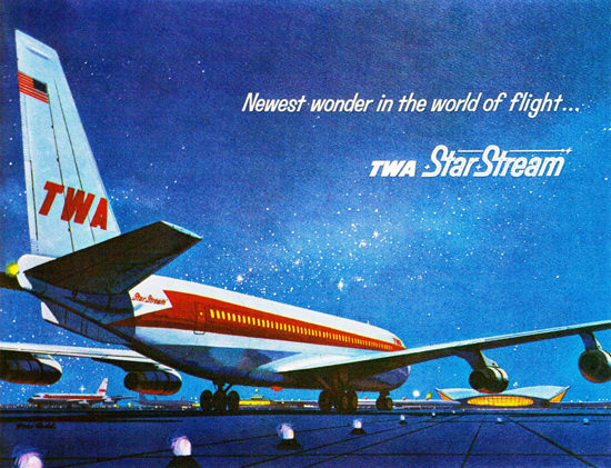 Cars On Line >> TWA Airlines Star Stream Boeing-707 Model 1962 | Mad Men Art | Vintage Ad Art Collection