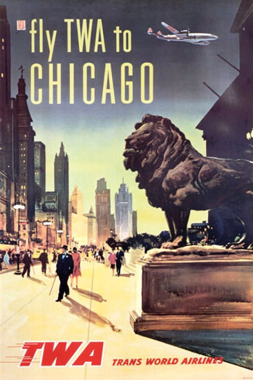 TWA Chicago Super Constellation 1950s | Vintage Travel Posters 1891-1970