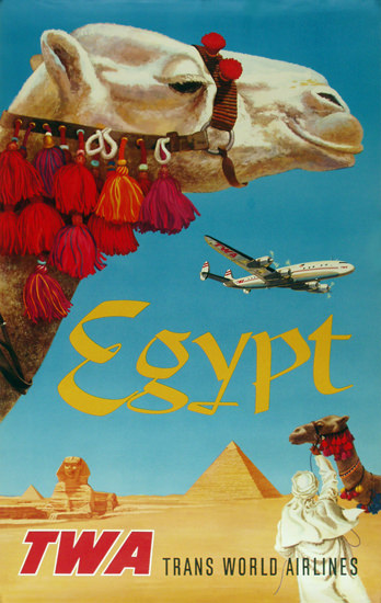 TWA Egypt Super Constellation 1960 | Vintage Travel Posters 1891-1970