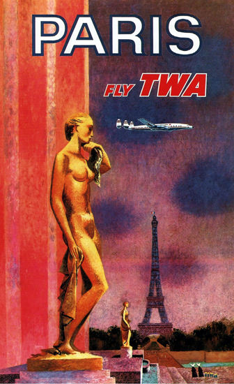 TWA Fly Paris 1950 Constellation Eiffel Tower | Sex Appeal Vintage Ads and Covers 1891-1970