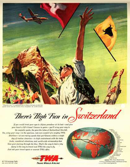 TWA Fun In Switzerland 1947 | Vintage Travel Posters 1891-1970