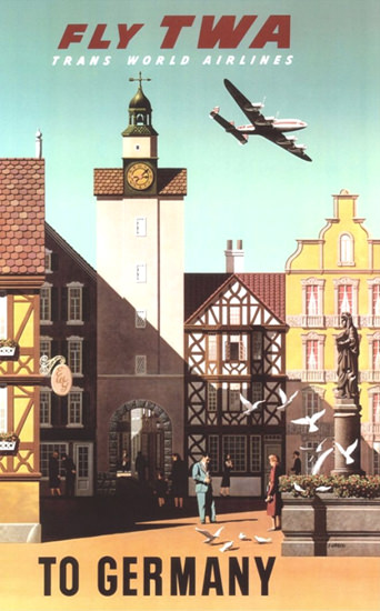 TWA Germany Super Constellation 1960 | Vintage Travel Posters 1891-1970