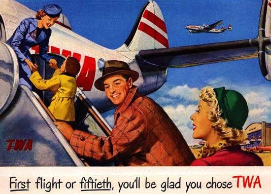 TWA Glad You Chose Super Constellation 1950 | Vintage Travel Posters 1891-1970