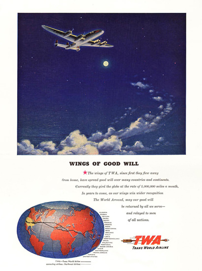 TWA Good Will Night Flight Super Constellation | Vintage Travel Posters 1891-1970