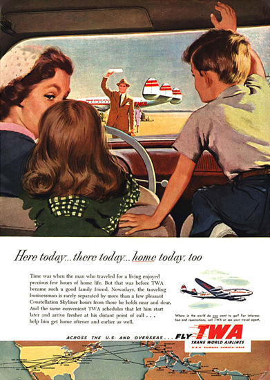 TWA Here Today Home Today Super Constellation | Vintage Travel Posters 1891-1970