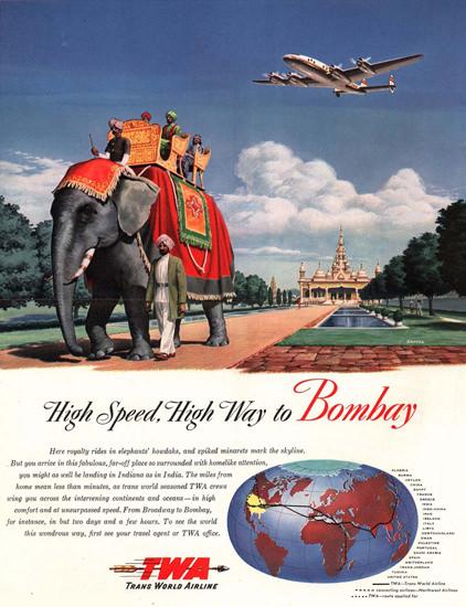 TWA High Way Bombay Super Constellation 1947 | Vintage Travel Posters 1891-1970