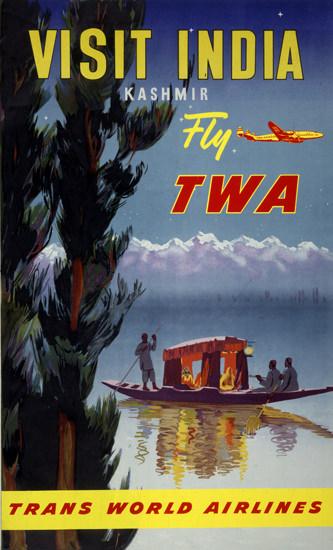 TWA India Kashmir Super Constellation 1951 | Vintage Travel Posters 1891-1970