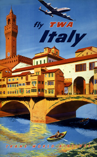 TWA Italy Super Constellation 1951 | Vintage Travel Posters 1891-1970