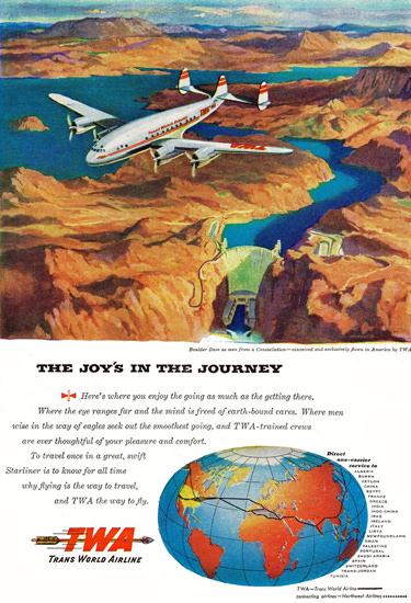 TWA Joys In Journey Super Constellation 1946 | Vintage Travel Posters 1891-1970