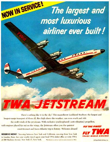 TWA Lockheed Starliner Super Constellation 1957 | Vintage Travel Posters 1891-1970