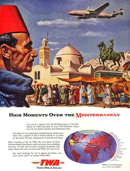 TWA Mediterranean Super Constellation 1947 | Vintage Travel Posters 1891-1970