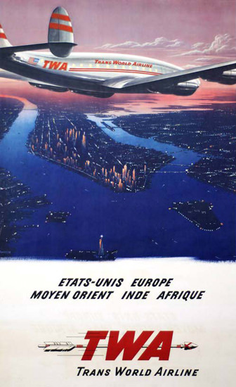TWA Moyen Orient Super Constellation 1946 | Vintage Travel Posters 1891-1970
