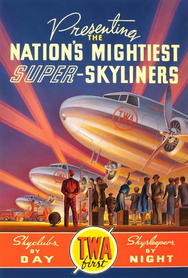 TWA Nations Mightiest Super Skyliners 1939 | Vintage Travel Posters 1891-1970