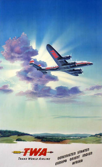 TWA Orient Indien Afrika Super Constellation 1955 | Vintage Travel Posters 1891-1970