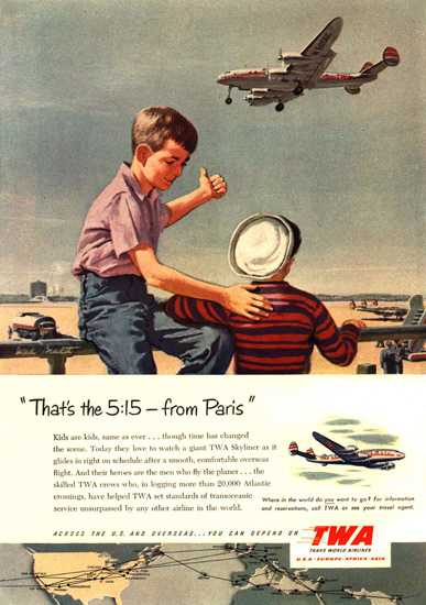 TWA Paris Boys Super Constellation | Vintage Travel Posters 1891-1970
