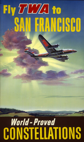 TWA San Francisco 1957 Super Constellation   Vintage Travel Posters 1891-1970
