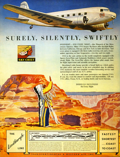 TWA Sky Chief Douglas Skyliners Lindbergh Line | Vintage Travel Posters 1891-1970