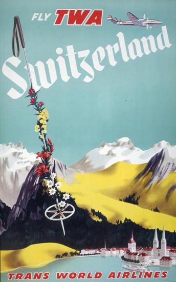 TWA Switzerland Super Constellation 1952 | Vintage Travel Posters 1891-1970