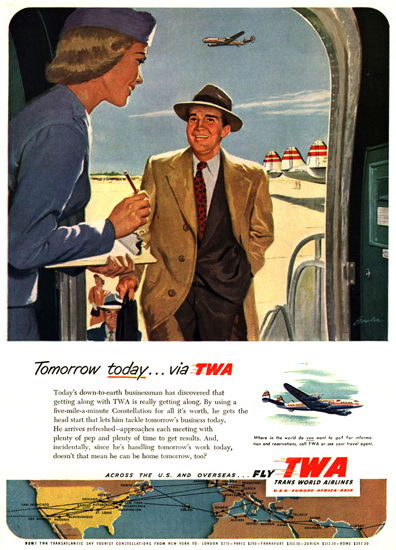 TWA Tomorrow Today Super Constellation | Vintage Travel Posters 1891-1970