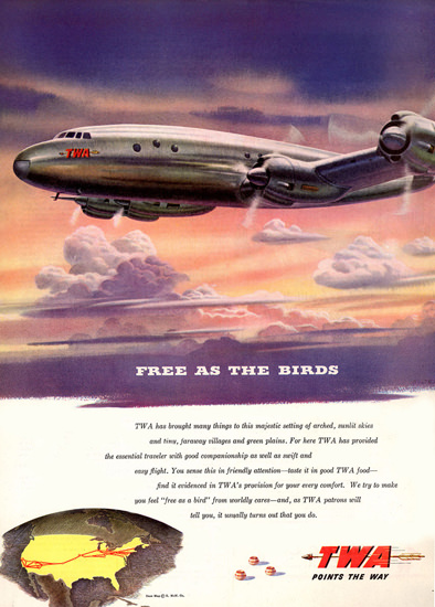 TWA Trans World Airline Free As The Birds 1945 | Vintage Travel Posters 1891-1970