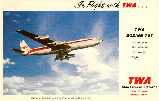 TWA Trans World Airlines 1960s Boeing 707 | Vintage Travel Posters 1891-1970