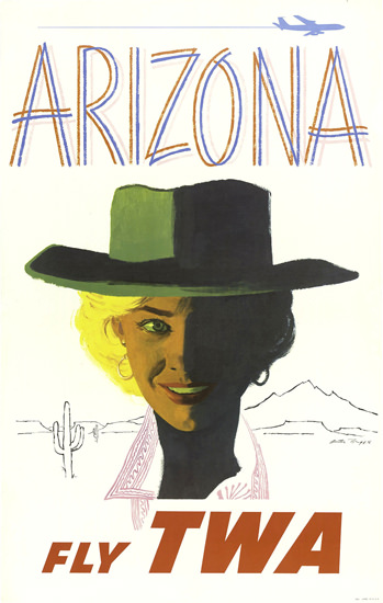 TWA Trans World Airlines Arizona 1955 | Sex Appeal Vintage Ads and Covers 1891-1970