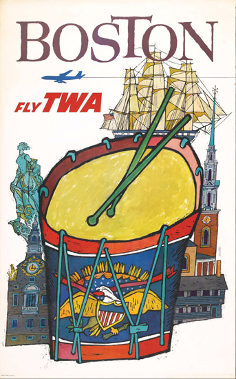 TWA Trans World Airlines Boston David Klein | Vintage Travel Posters 1891-1970
